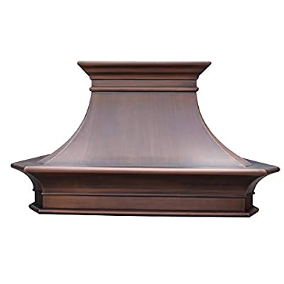 """SINDA Custom Hammered 16 Gauge Solid Copper Range Hood with 304 Stainless Steel Vent and Fan Motor, 48""""Wx48""""H, Smooth-Antique Copper, Island Mount, H20SCI4848"""