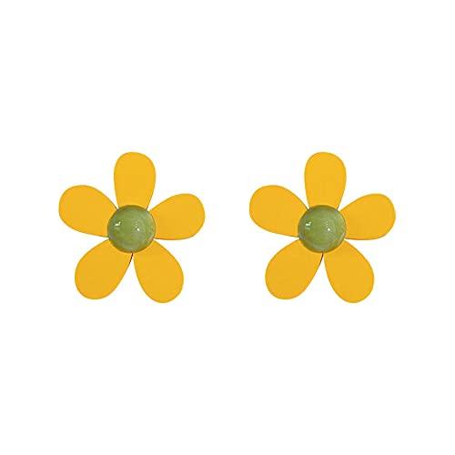 FEIHUI Pendientes Niña Hipoalergenicos,Flores De Madera Exageradas Creativas Perlas Semirredondas Pendientes Hipoalergénicos De Moda Exquisita Gota para El Oído Joyería De Todo Fósforo para Mujeres