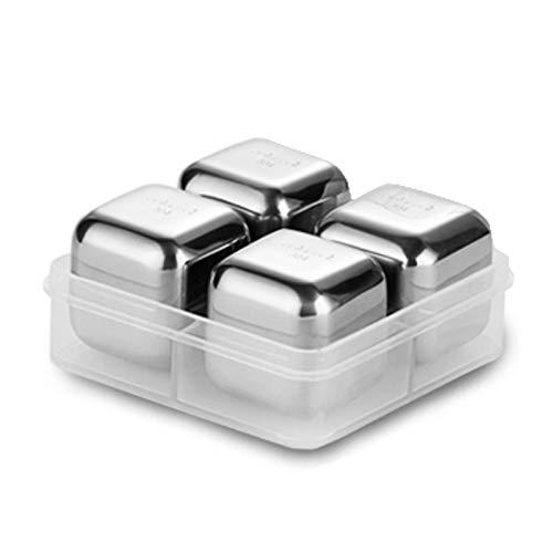 Contenedor de almacenamiento de bandejas Cubos de hielo reutilizables 304 Cubos de hielo de whisky de acero inoxidable, bandeja de hielo de metal congelado rápido con pinzas y bandejas de silicona, la