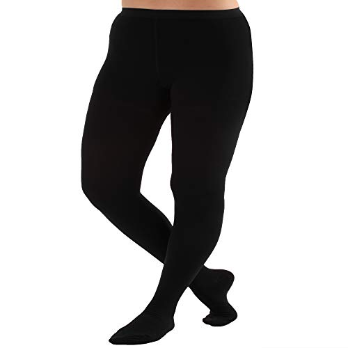 5XL Plus Queen Size Compression Pantyhose 20-30mmHg - Opaque Graduated Support Hose Medical Stockings - Absolute Support A204BL8 Black, XXXX-Large