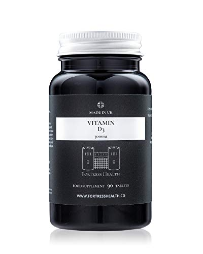Vitamin D3 3000iu – 90 Tablets – 3 Months Supply – Boost Your Immune System - Made in The UK - Premium Quality – by Fortress Health