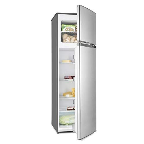 Klarstein Height Cool - Kühl- und Gefrierkombination, A++ 199 L Kühlschrank, 53 L Gefrierfach, 4 Ablagen, Gemüsefach, 4 Türablagen, 7-stufige Temperatureinstellung, Edelstahl-Optik, silber