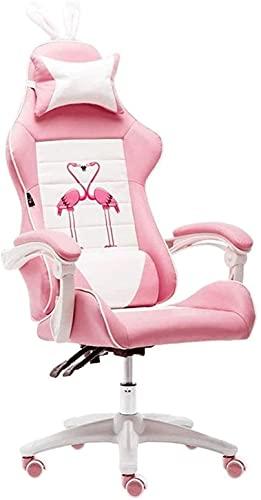 HZYDD Silla de oficina, silla giratoria ajustable, reclinable ergonómico con reposabrazos, silla de juegos de ocio para el hogar, color rosa (color: rosa a, tamaño: 120)