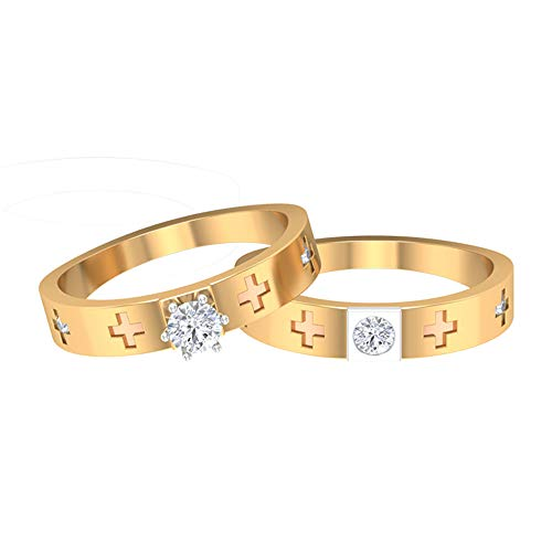Engagement Rings Set, HI-SI 1/2 CT Solitaire Diamond Rings, Engraved Cross Rings, Bridal Rings Set, Mixed Metal Rings, Matching Rings for Couples, 14K Rose Gold, Size:UK Q1/2