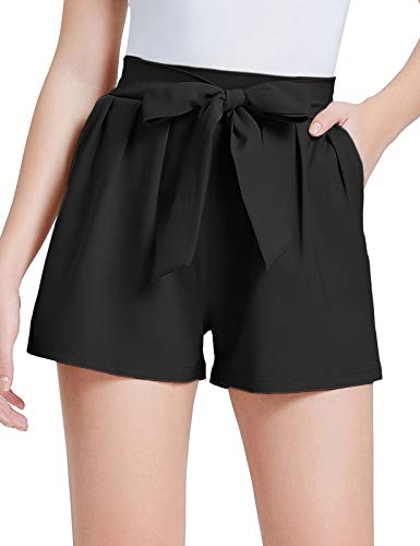 GRACE KARIN Women's Summer Casual Shorts Elastic Waist Belt Decorated Black