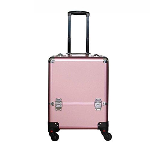 Caisse de chariot à maquillage d'alliage d'aluminium, organisateur cosmétique professionnel de voyage d'artiste de beautician noir/rose (Couleur : Pink)