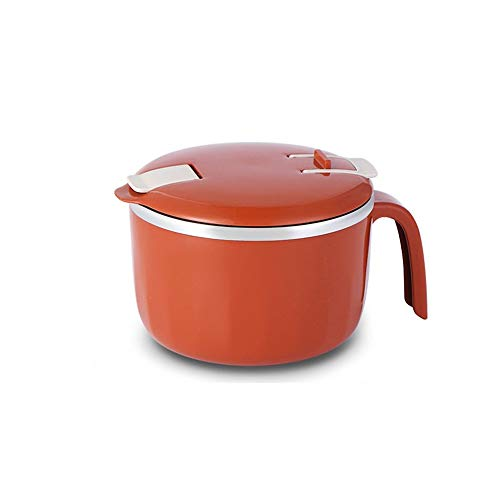 Big Capacity Instant Noodle Bowl with Drain Hole and Mobile Phone Holder Soup Bowl Cereal Bowl for Salad Fruit Vegetable (red)