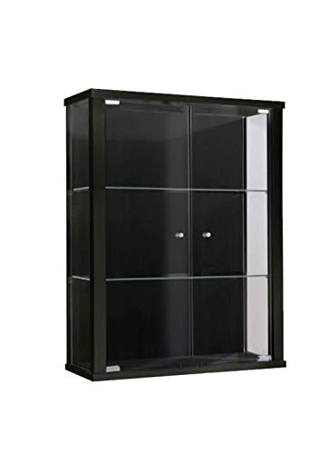 K-Möbel Glasvitrine in Schwarz (80x60x25 cm) mit 2 höhenverstellbaren Glasböden aus ESG; perfekt für Sammler;