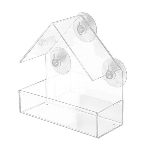 Mangiatoia per Uccelli Trasparente con 3 Ventose, Casetta per Uccelli in Plastica Rimovibile, Resistente alle Intemperie, Fissata al Muro su Windows