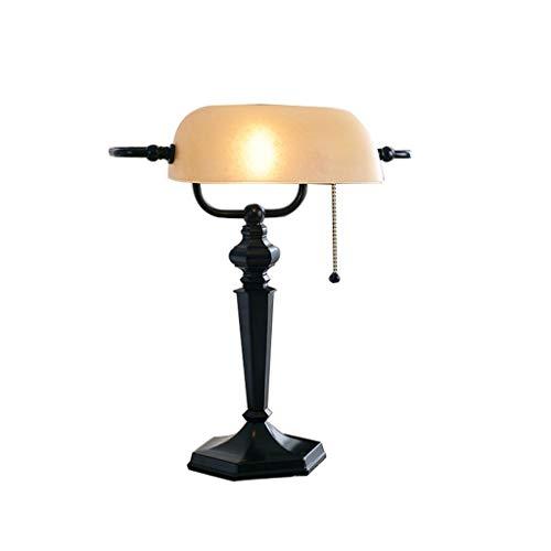 Preisvergleich Produktbild YHFX2Schreibtischlampen Banker Lampe,  Glas Lampenschirm,  Schmiedeeisen Basis,  antiken Stil Schreibtischlampe Retro Antik Lampe (dunkelbraun / Bronze) 002 (Color : A)