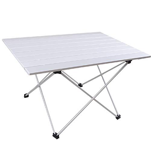 TRIWONDER Alu Campingtisch, Klapptisch Falttisch, Verstellbar und Faltbar, Gartentisch für Outdoor, Camping, BBQ, Strand, Angeln (Silber - XL (68x46cm))