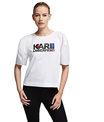 Karl Lagerfeld Shirt Ärmel Laterne Popeline mit Logo Bauhaus 201W1740 weiß, Weiß Small