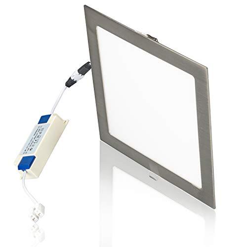 POPP®Placa niquel Downlight LED PRO(PACK x2) SuperSlim cuadrado plata empotrado Chip Osram...