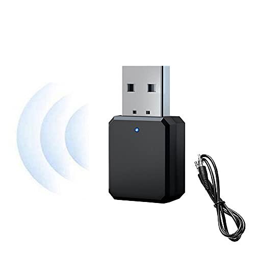 Adaptador de coche USB Bluetooth 5.1, con 3,5 mm AUX, interfaz USB, Plug & Play, micrófono integrado, manos libres, adecuado para coche, PC, TV, altavoces con cable, etc. (negro)