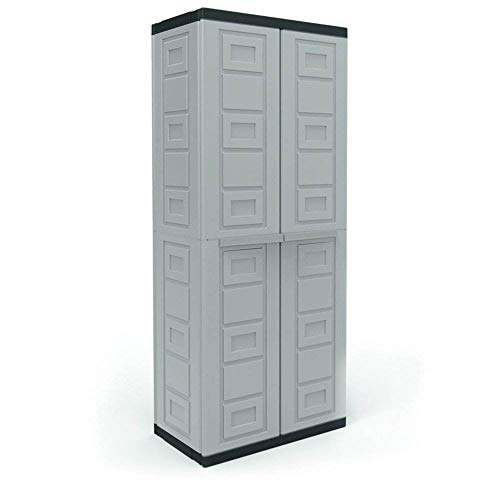 Contico 4 Shelf Plastic Garage Storage Organizer Base Utility Cabinet, Gray