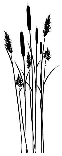 Wandtattoo - Schilf Bambus Strauch - Dekoration - 49 Farben - 2 Größen/schwarz / 55 cm breit x 146 cm hoch