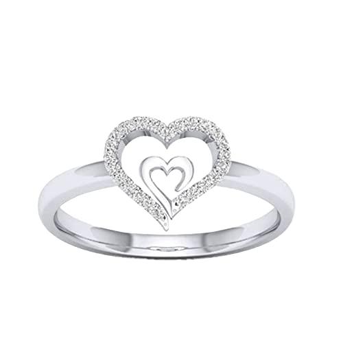 Anillos de boda Señor de los anillos anillos de plata Corazón a corazón Señoras Anillo de compromiso de diamante creativo Joyas de amor regalo, 7,