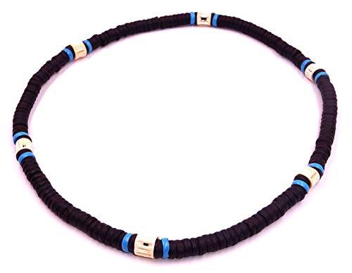 Collana Surf surfista cocco etnica corno legno perle cocco Torre di collo tribale ciondolo uomo donna elastico bambino nero blu turchese