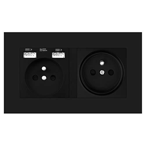 Enchufe eléctrico francés de múltiples vías de pared 16A, enchufe eléctrico con toma de tierra con tira de salida USB 146 * 86, Panel de PC, hotel familiar 146A1FR 2usb Black