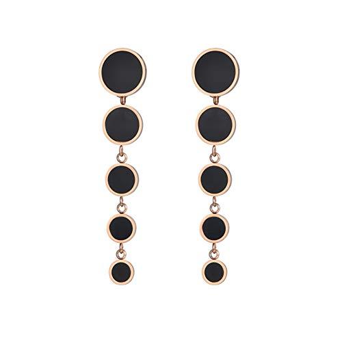 QIN Pendientes de Acero Inoxidable Separados 5 Pendientes de Disco Negro Joyas de Oro Rosa Ropa de Mujer