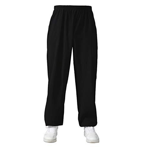 BBLAC 2KEY Tai Chi Abbigliamento | Unisex Pantaloni per Kung Fu e Arti Marziali | Pantaloni in Cotone e Lin | Abbigliamento Quotidiano per Yoga e Pilates (XXL,A)