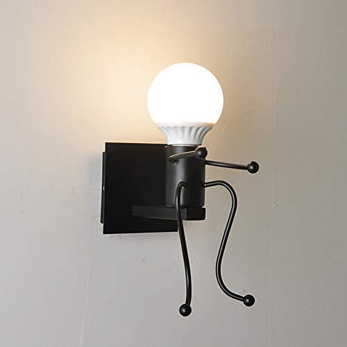Mengjay Mini-Wandleuchten Für Wohnzimmer, Moderne Kreative Cartoon-LED-Wandlampen, Schlafzimmer, Kinder, Kleine Leute, Kinder-Wandleuchte, Dekoration, Geschenk, Metall, Nachttischlampe schwarz