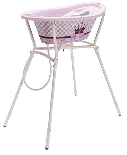 Rotho Babydesign Set de Bain Complet Little Princess StyLe! avec Baignoire et Support Pliable, 0-12 Mois, Max 25 kg, Rose, 21061020801