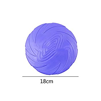 DIKOPRO Dog Frisbee|Dog Flyer Toy,Golden Fringed Shepherd Dog Practice Pet Toy Bites Resistant Soft Rubber UFO Can Float,for Outdoor Interactive entertainment-18CM(Purple)