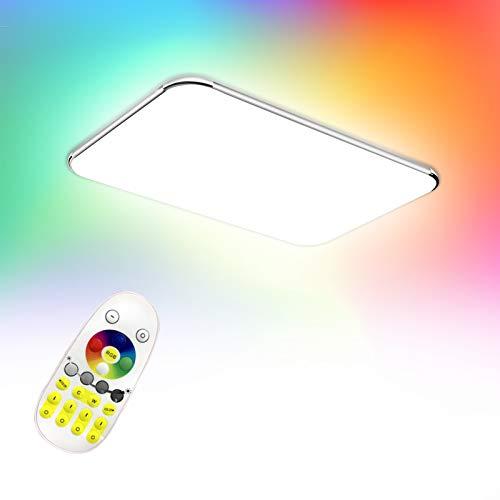 Froadp RGB LED Deckenleuchte Panel mit Fernbedienung Flimmerfreie Dimmbar Deckenlampe IP44 Blendfrei für Küche Schlafzimmer Flur Wohnzimmer(48W)