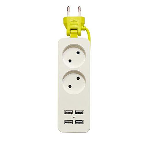 NXACETN 2 Enchufes 4 Adaptador De Cargador USB Enchufe De La UE Cable De Extensión De Regleta Verde