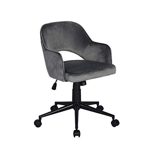 Bürostuhl mit Armlehne, Ergonomischer Drehstuhl, Schreibtischstuhl aus Samt, Höhenverstellbar Rückenlehne, Grau, Clarkson Grey