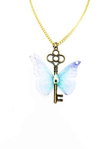 Antike Halskette mit Schlüsselanhänger und hellblauer Schmetterling