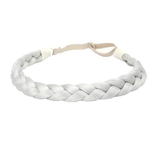 DIGUAN Synthetic Hair Braided Headband Classic Chunky Wide Plaited Braids Elastic Stretch Hairpiece Women Girl Beauty accessory, 55g aHairBeauty (#Light Gray)