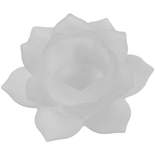 Porte Bougie blanc Lotus en verre