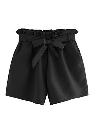 DIDK Damen Locker Shorts Elastischer Bund Casual Sommerhose Sommer Short Kurz Hose mit Schleife Gürtel Schwarz L
