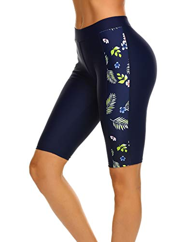 Balancora Damen Badeshorts Badehose Damen Lang Schwimmshorts Schwimmhose Wassersport Boardshorts UV Schutz Navy blau S