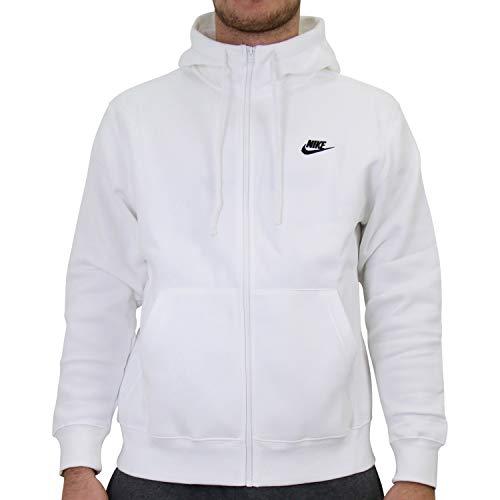 Nike Mens M NSW Club Hoodie FZ BB Sweatshirt, White/White/(Black), M