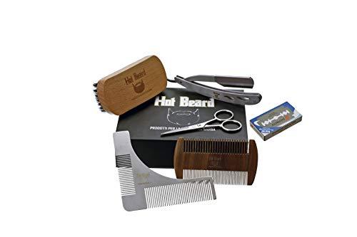 Kit/Set/para el cuidado de la barba completo con navaja de afeitar, cuchillas, cepillo de cerdas de jabalí salvaje, peine de afeitar, tijeras