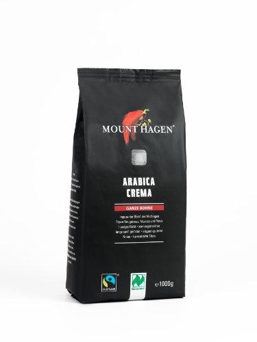 Mount Hagen Bio FT Naturland Röstkaffee Arabica Crema, 1kg ganze Bohne