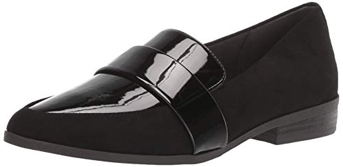 Dr. Scholl's Shoes Women's Agnes Loafer, Black Microfiber/Patent, 8.5 M US