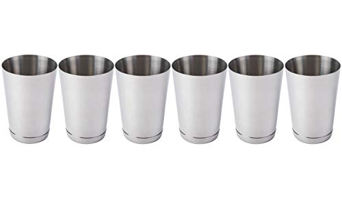 (6 Pack) 15-Ounce Cocktail Mixing Shaker Tin - Silver Glitter, Stainless Steel Bar Shakers/Boston Shaker Tins