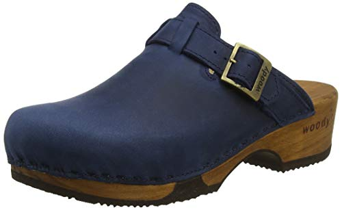 Woody Damen Manu Clogs, Blau (Avion), 38 EU