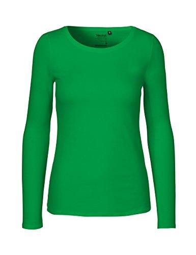 Green Cat - Camiseta de manga larga para mujer, 100% algodón orgánico. Certificado Fairtrade, Oeko-Tex y Ecolabel verde hierba M