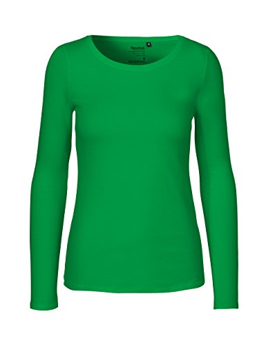 Green Cat- Damen Langarmshirt, 100% Bio-Baumwolle. Fairtrade, Oeko-Tex und Ecolabel Zertifiziert, Textilfarbe: grasgrün, Gr. XL