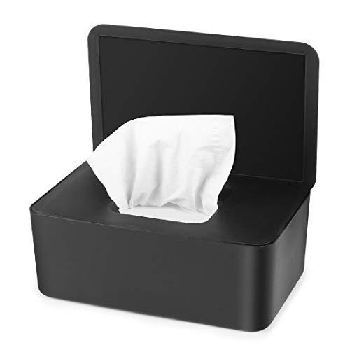 O-Kinee Feuchttüchter Box, Feuchtes Toilettenpapier Box, Feuchttücherbox Schwarz, Feuchttücher Box Baby, Aufbewahrungsbox Kunststoff Feuchttücher Spender mit Deckel für Zuhause und Büro