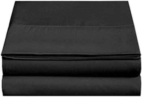 4U LIFE 2 Piece Flat Sheet-Ultra Soft and Comfortable Microfiber, Twin, Black