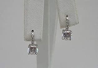 925 Sterling Silver Ladies Designer Curved Hook Earrings W 2.30 CT Diamond WG-251