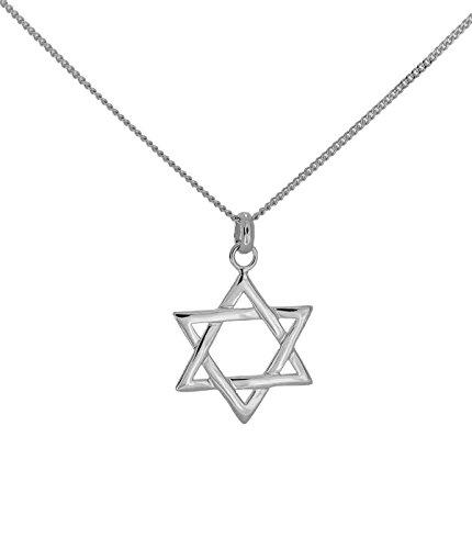 Anhänger Etoile jüdische von David mit Kette echt Silber 925massiv Halskette 45cm für Damen und Kinder mit Geschenkbox