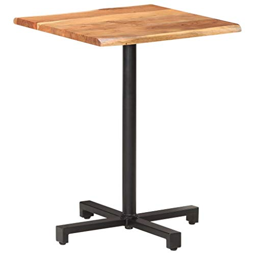 vidaXL Solid Acacia Wood Bistro Table with Live Edges Kitchen Restaurant Furniture Wooden Dinner Dining Room Pub Bar Side Log Edge Table 60x60x75 cm