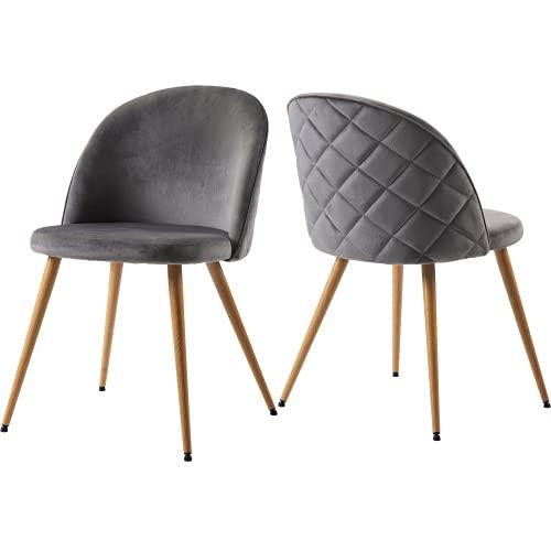 Silla de comedor, salón, tapizada, silla de salón, silla de terciopelo suave, asiento y respaldo con patas de metal, juego de 2, colores a elegir